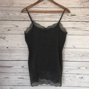 WHBM Lace Grey Cami Tank Top Size Large